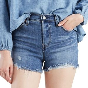 Levi's High Rise Denim Shorts Button Fly Frayed